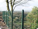 Welded mesh steel wire panel fencing at allotments in Radcliffe.