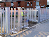1.8 metre industrial steel palisade gates for security around a car park in Farnworth Bolton.