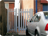 Small steel gate for security at a commercial premesis.