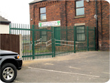 2.4 metre palisade security fencing and gates at a daycare centre nursery at Highfield in Farnworth.