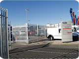 2.4 metre galvanised steel palisade fencing and gates to provide security for one of our commercial Ford dealership customers in Manchester.