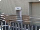 2.4 metre galvanised palisade fencing used for high security at one of our customers sites in Manchester who specialise in defence contracts.