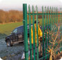 2 metre steel palisade industrial fencing erected around a football field in Bury.