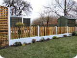 2ft wooden picket fence panels with white PVC posts and base panels.