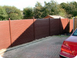 Full PVC fencing with interlocking stacked panel system.