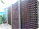 Custom made dish-top trellis panels and trellis gate as specified by a customer.