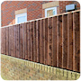 3ft post and rail feather edge close board fencing on top of a brick wall at a garden in Prestwich.