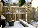 Bespoke wooden picket fencing and gate in Ramsbottom.